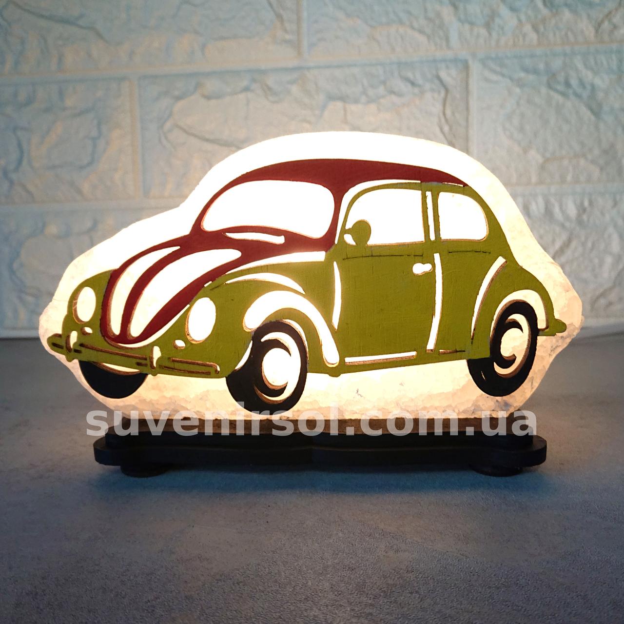 Соляной светильник Машина маленькая с цветной нашивкой