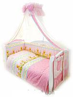Комплект постельный для новорожденных на 8 элементов Twins Comfort Утята с шариками, розовый. Подарок грудничу