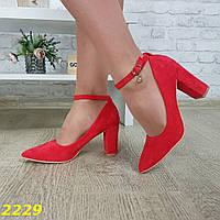 Женские замшевые туфли красные на каблуке, sp 2229, фото 1