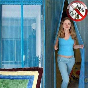 Дверная антимоскитная сетка на магнитах рисунок 210*100 (Синий рисунок)