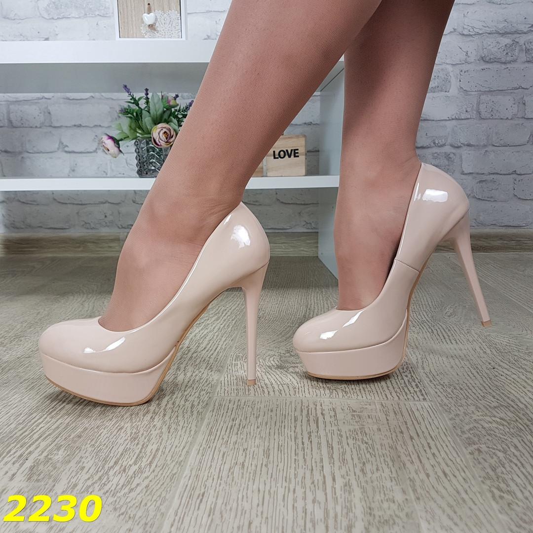 Женские лаковые туфли на высоком каблуке и платформе, sp 2230