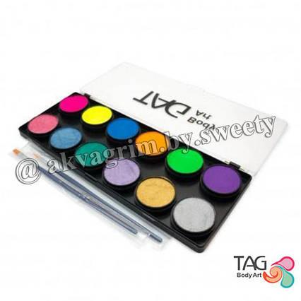 Аквагрим палитра TAG  Неононовая + Перламутровые 12 цветов