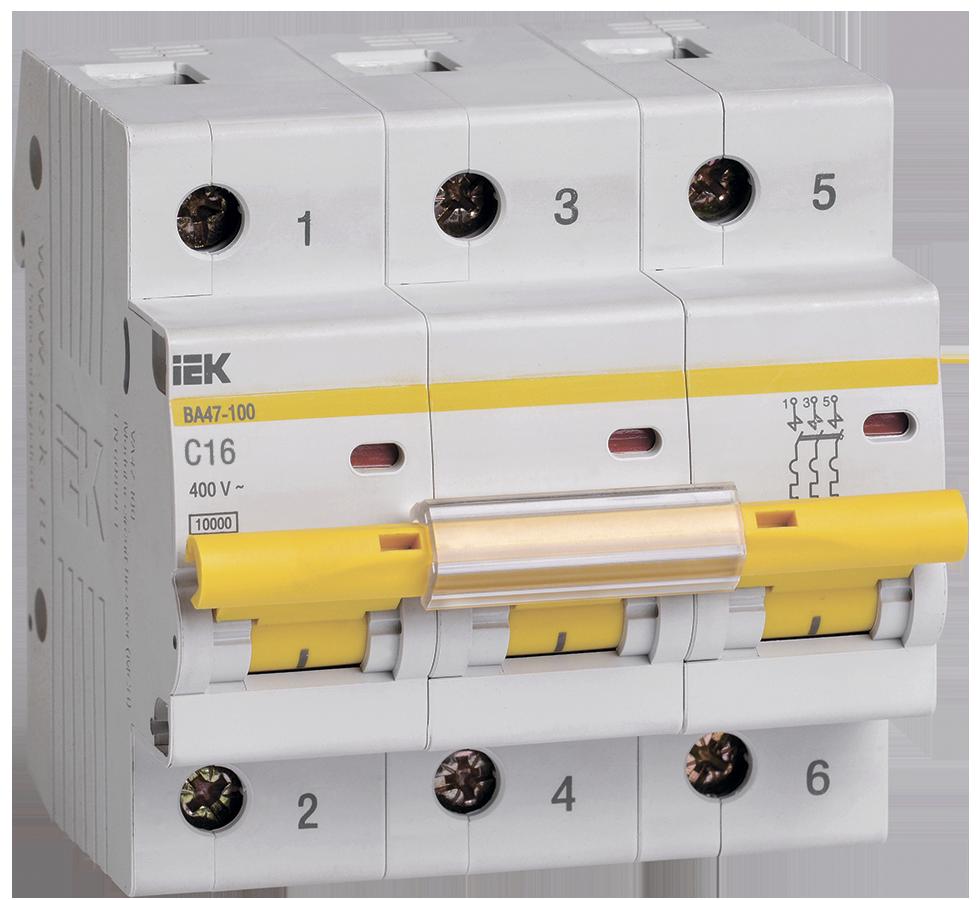 Выключатель автоматический ВА47-100 3Р 16А 10кА С ІЕК