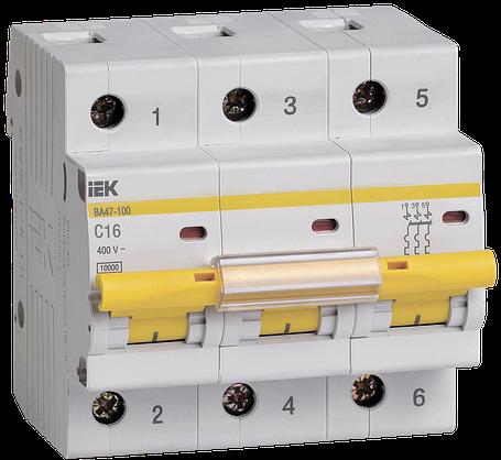 Выключатель автоматический ВА47-100 3Р 16А 10кА С ІЕК, фото 2