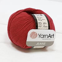 Пряжа Jeans 50гр - 160м (51 Бордовый) YarnArt 55 % хлопок, 45 % полиакрил, Турция