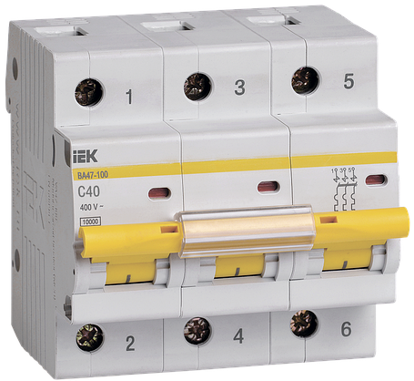 Выключатель автоматический ВА47-100 3Р 40А 10кА С ІЕК, фото 2