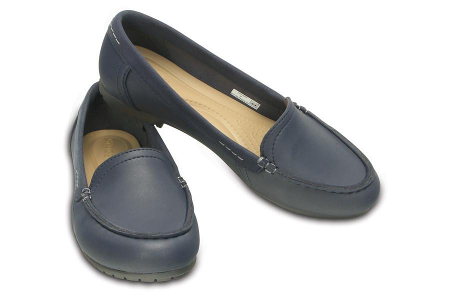 Туфли женские лоферы Кроксы Колорлайт оригинал / Crocs Marin ColorLite Loafer (202001), Темно-синие