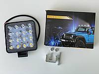 LED фара квадратная (48 Вт 16 диодов) 12см х 12см х 2см, фото 1