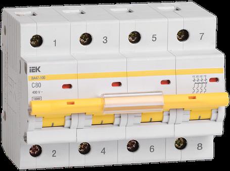 Выключатель автоматический ВА47-100 4Р 80А 10кА С ІЕК, фото 2