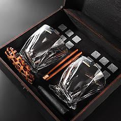 Камни для виски подарочный деревянный набор с бокалами. Кубики для охлаждения виски Темная коробка + 2 шт Бокала Bohemia Quadro 340 мл