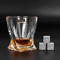 Камни для виски подарочный деревянный набор с бокалами. Кубики для охлаждения виски Темная коробка + 2 шт Бокала Bohemia Quadro 340 мл, фото 3
