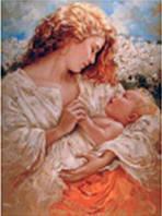 """Картина по номерам 6091 """"Девушка с младенцем"""", 40х50см, набор краски акрил, кисть -3шт, фото 1"""