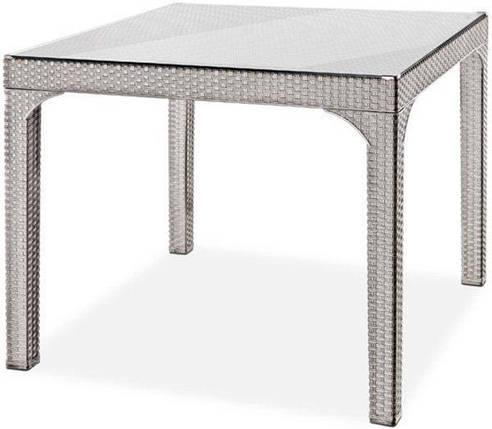 Стол квадратный Irak Plastik Comfort 90x90 под ротанг серый, фото 2