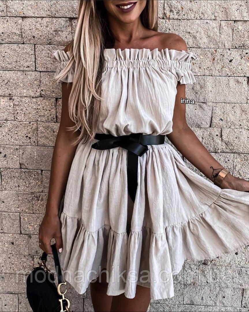 Платье мини лён- жатка