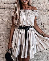Платье мини лён- жатка, фото 1