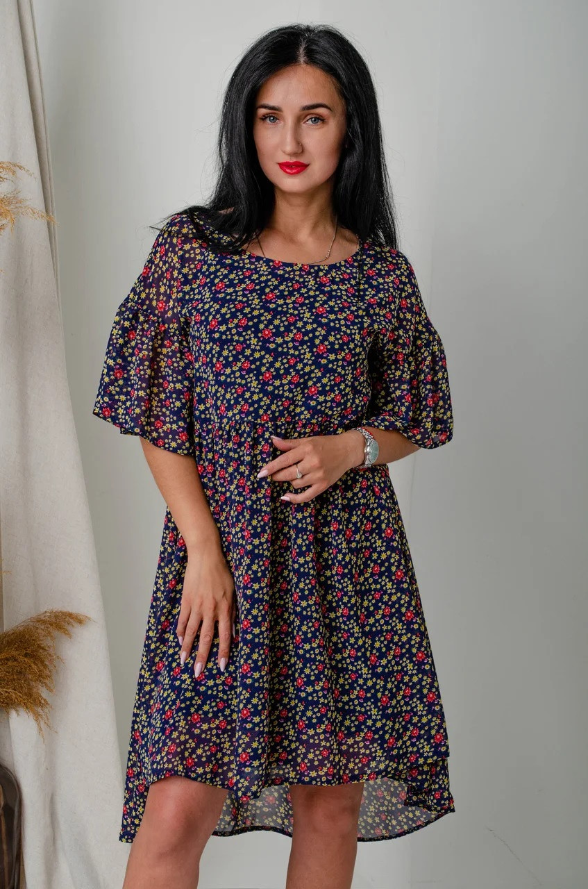 Шифоновое платье с удлиненной спинкой