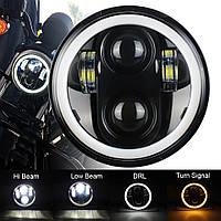 Универсальная светодиодная мото фара 75 ватт Лед 5.75 дюймов Ваз 2106 шестерка 2103 передняя мотоциклетная
