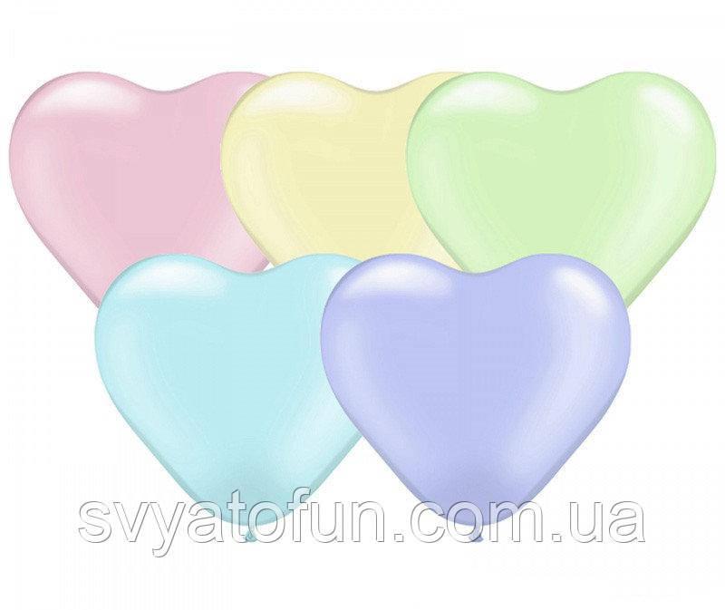 """Латексные воздушные шарики-сердца 12"""" Macaron Assorted (ассорти) 100шт/уп Kalisan"""