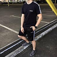 Летний комплект Адидас чёрная футболка мужская + чёрные шорты  S, M, L, XL XL