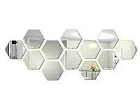 3D Шестигранная зеркальная наклейка на стену 12 шт. 80x70x40MM Серебристый
