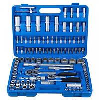"""Универсальный автомобильный набор ручного инструмента, ключи, головки на 1/2"""" и 1/4"""" в чемодане, 108 предметов"""