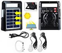 Солнечная панель с FM радио Haoning HN-1320ULS , TF/USB, динамик, фонарь, power Bank с дисплеем, черный цвет, фото 1