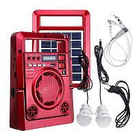 Солнечная панель с FM радио Haoning HN-1320ULS , TF/USB, динамик, фонарь, power Bank с дисплеем, красный цвет