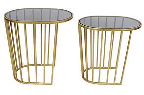 Набір (2 шт) столиків металевих Доміно зі стільницею 56см і 51см , колір - золотий (TY1-212)