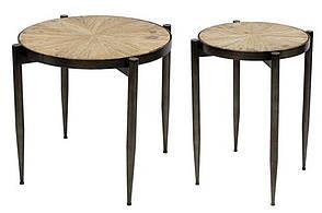 Набір (2 шт) столиків металевих Хьюго з ялинової стільницею, 45см і 55см, колір - чорний (TY1-215)