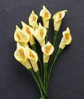 Букетик цветов - каллы, цвет желтый. (5шт)