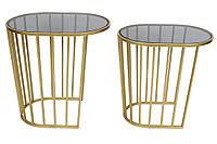 Набор (2 шт) столиков металлических Домино со столешницей 56см и 51см , цвет - золотой (TY1-212)