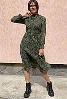 Шикарное шифоновое платье с принтом турецкий орнамент  Busem - зеленый цвет, L (есть размеры), фото 1