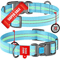Ошейник для собак нейлоновый WauDog Nylon, светонакопительный, голубой, обхват шеи - 24-40 см, ширина - 20 мм