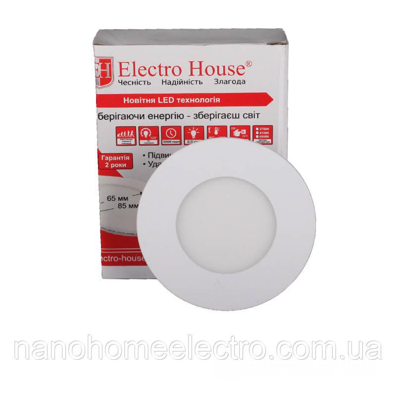ElectroHouse LED панель кругла 3W 4100К 270Lm Ø90мм