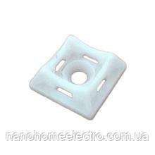 ElectroHouse Майданчик для стяжки [хомутів] універсальна 20х20 мм біла нейлон