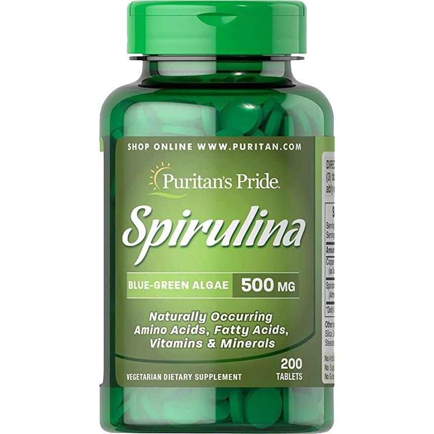 Натуральная добавка Puritan's Pride Spirulina 500 mg, 200 таблеток