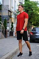 Мужской летний комплект - красная футболка и черные шорты