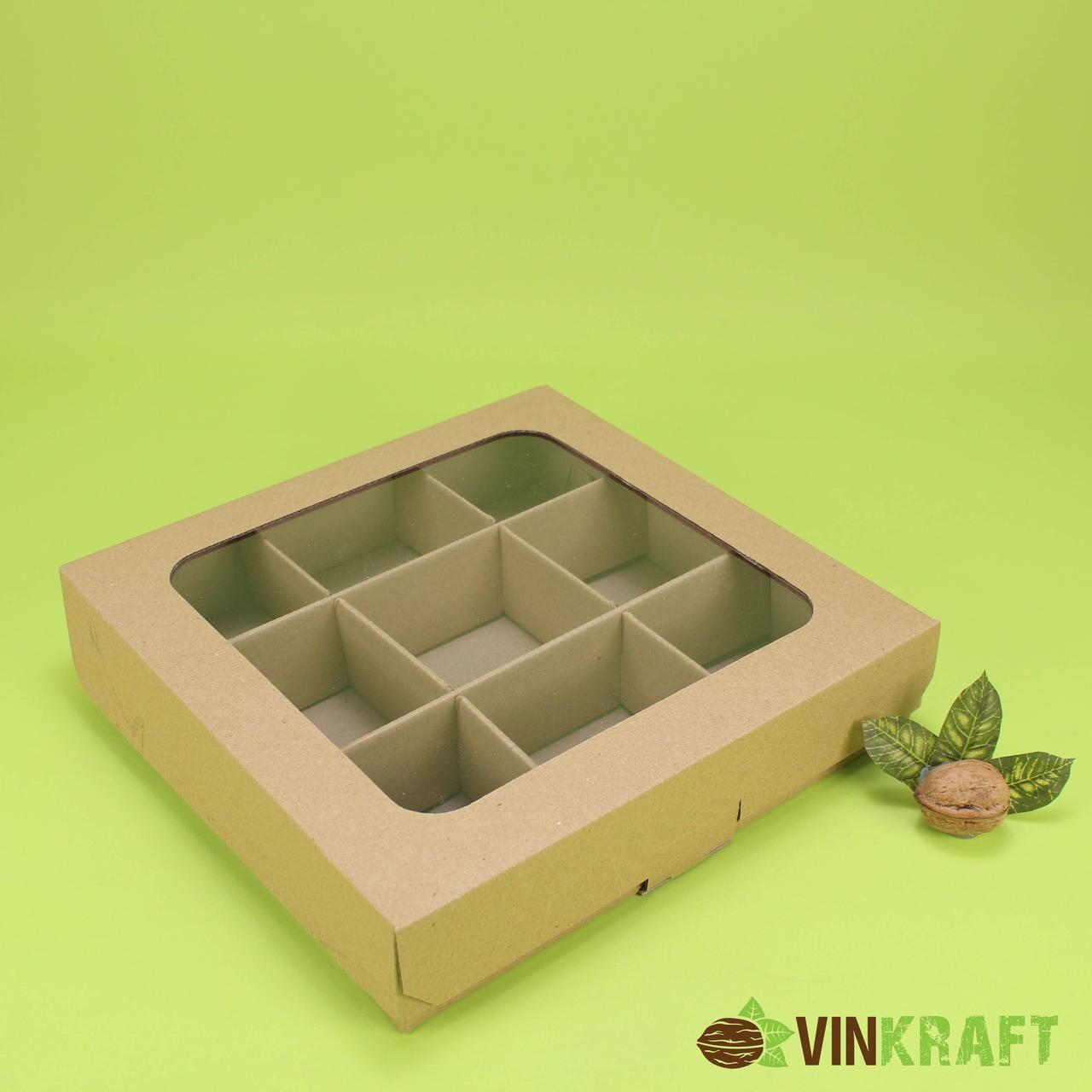 Коробка 250*250*55 для сухофруктів з вікном, гофра