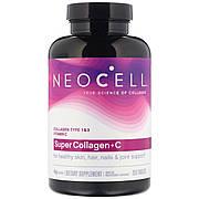 Коллаген + Витамин С, Тип 1&3, NeoCell, 250 таблеток
