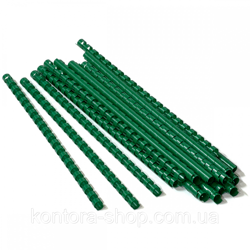 Пружини пластикові 14 мм зелені (100 штук)