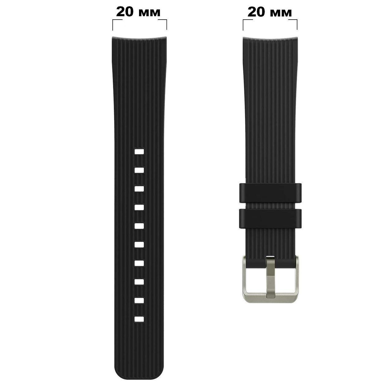 Ремешок силиконовый универсальный 20 мм BeWatch Черный (1012101.9)