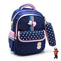 Школьный рюкзак с пеналом в горошек 3 Цвета