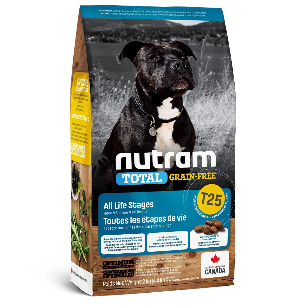 НУТРАМ T25 Nutram Total сухой корм с лососем и форелью для собак всех возрастов, беззерновой, 2 кг