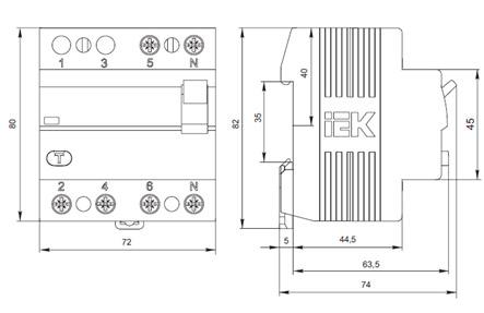 Выключатель дифференциальный (УЗО) ВД1-63 4Р 80А 30мА ІЕК, фото 2