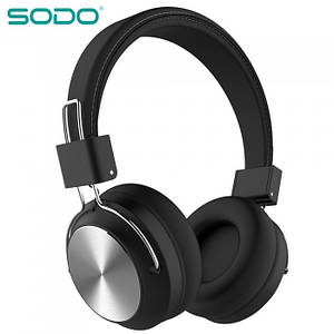 Бездротові Bluetooth-Навушники SODO SD-1001 FM радіо Чорні, (Оригінал)