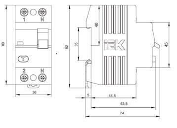 Выключатель дифференциальный (УЗО) ВД1-63 2Р 25А 10мА ІЕК, фото 2