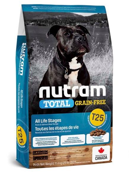 НУТРАМ T25 Nutram Total сухой корм с лососем и форелью для собак всех возрастов, беззерновой, 11.4 кг