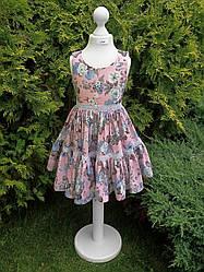 Платье детское, розовое с принтом, р. 122