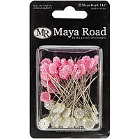 Декоративные булавки Maya Road Flowers Hot Pink & Cream Pearl 25 (TK2213)