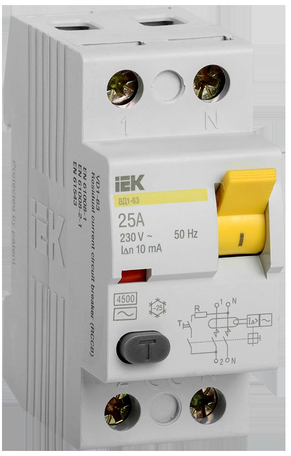 Выключатель дифференциальный (УЗО) ВД1-63 2Р 25А 10мА ІЕК